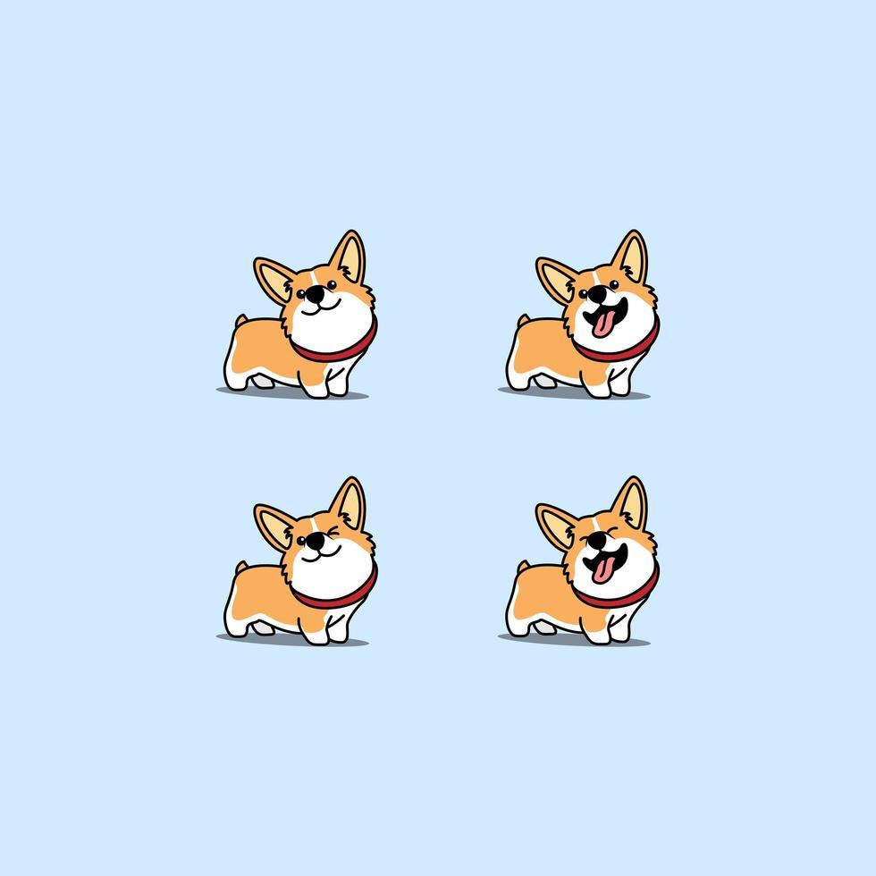 söt walisisk corgi hund tecknad uppsättning vektor