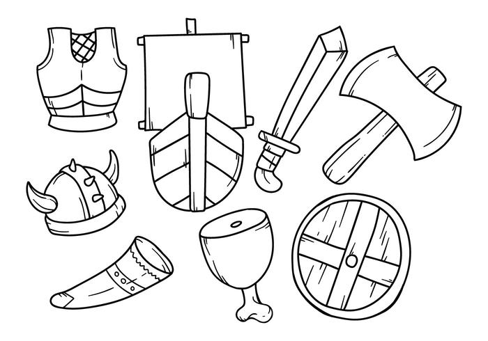 Fri handteckning vikingikon vektor