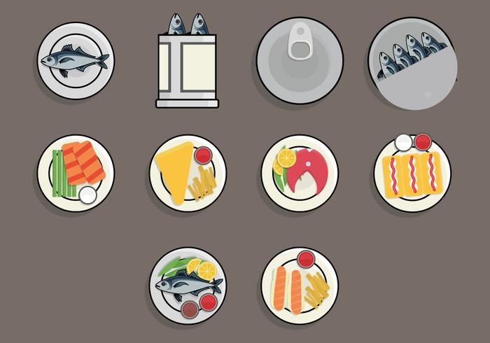 Fisk stek mat ikonen uppsättning vektor