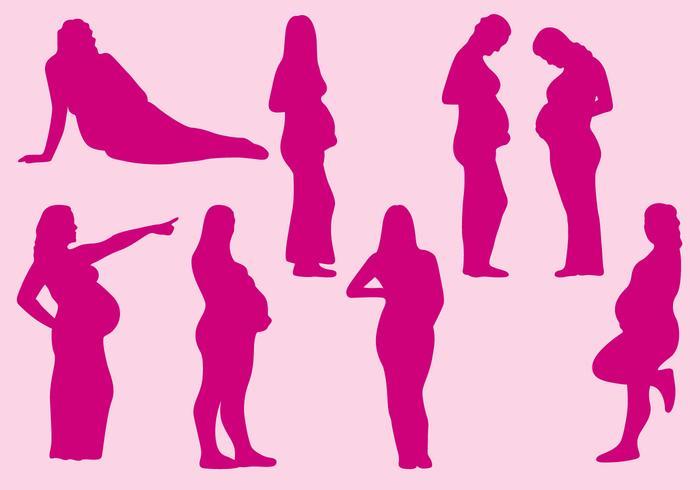 Schwangere Frauen Silhouetten vektor