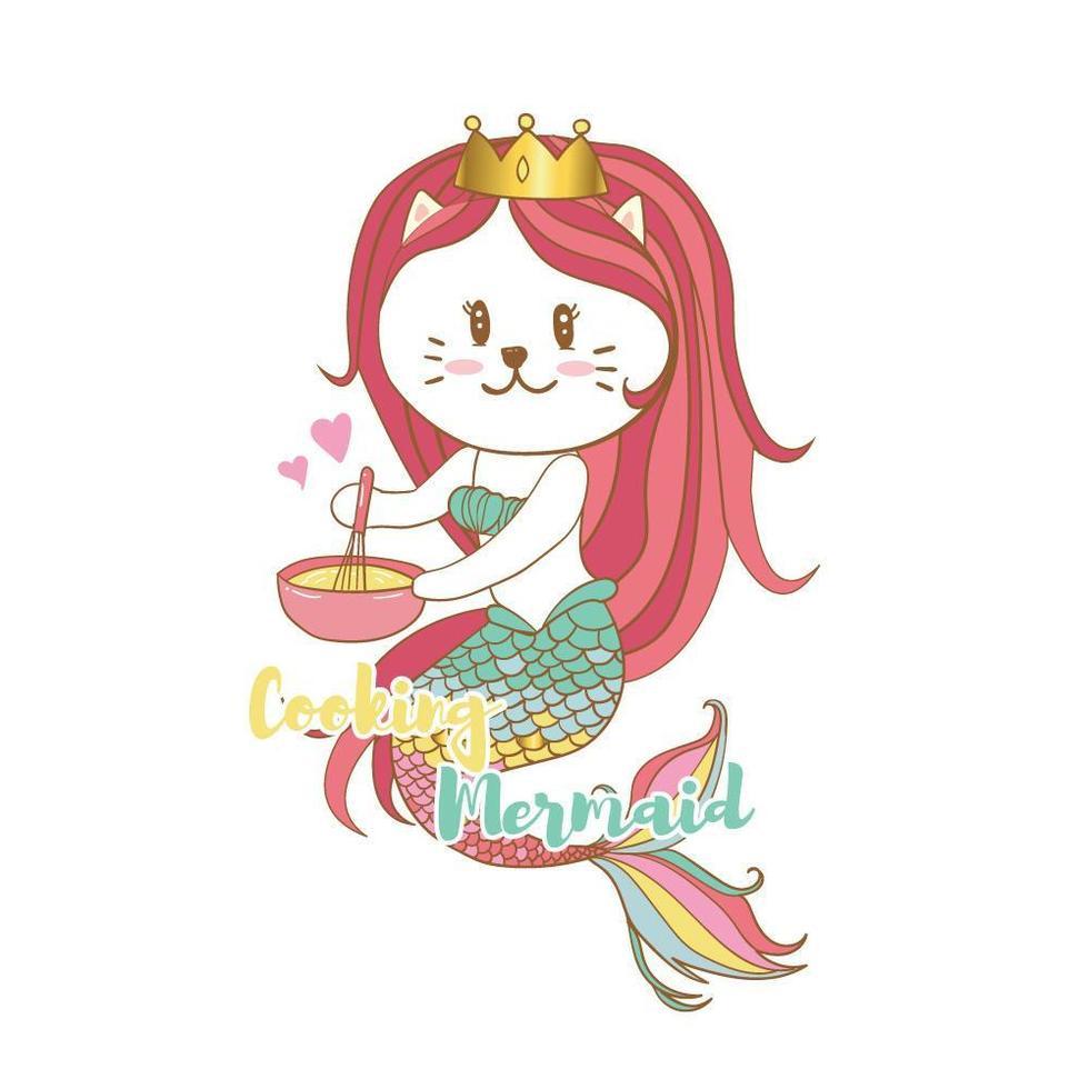 sjöjungfru katt matlagning vektor