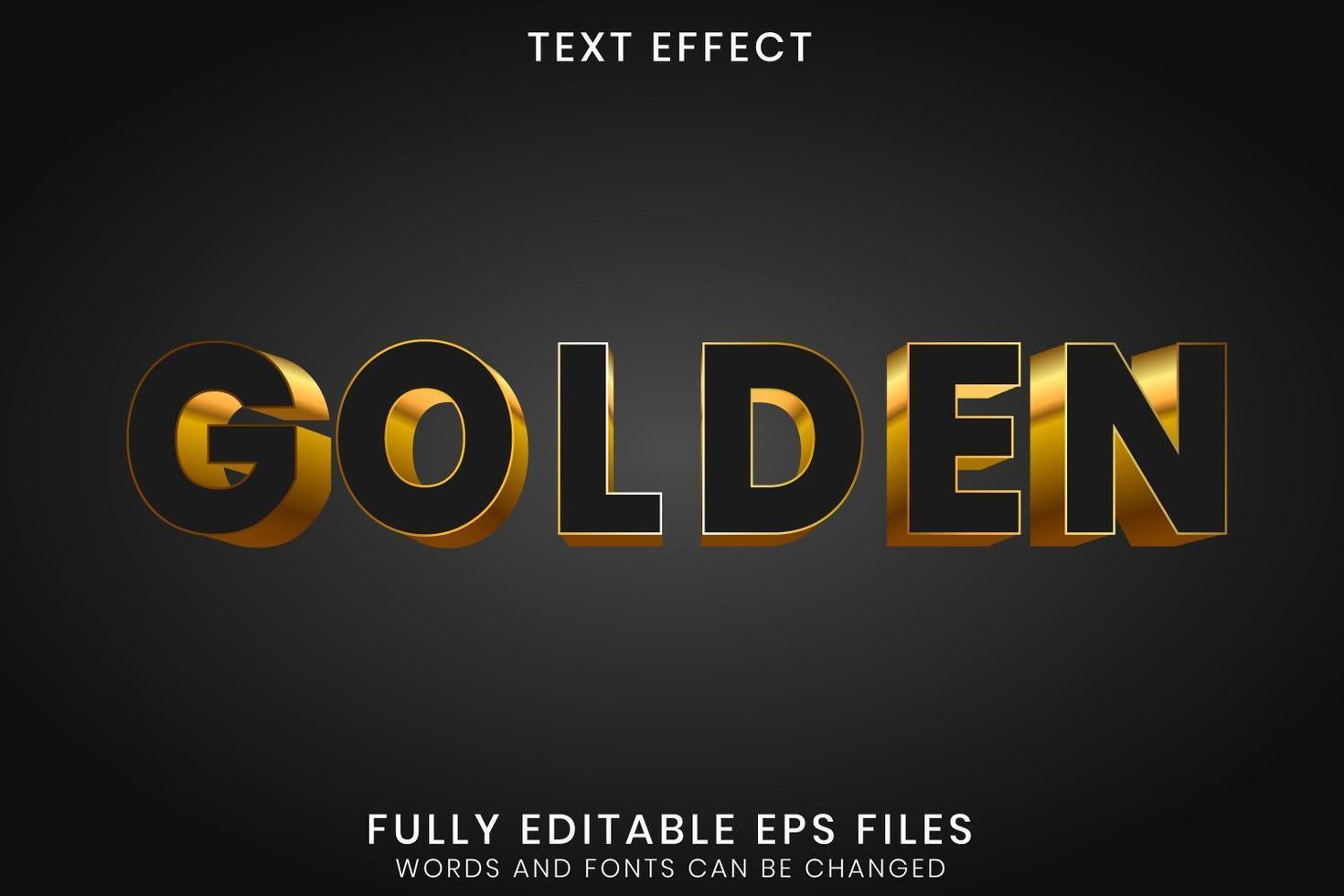 Effektiv redigerbar text för svartguld 3d vektor