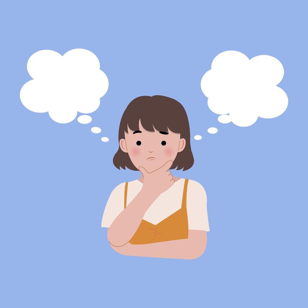 junge Frau denkt zwischen zwei Möglichkeiten vektor