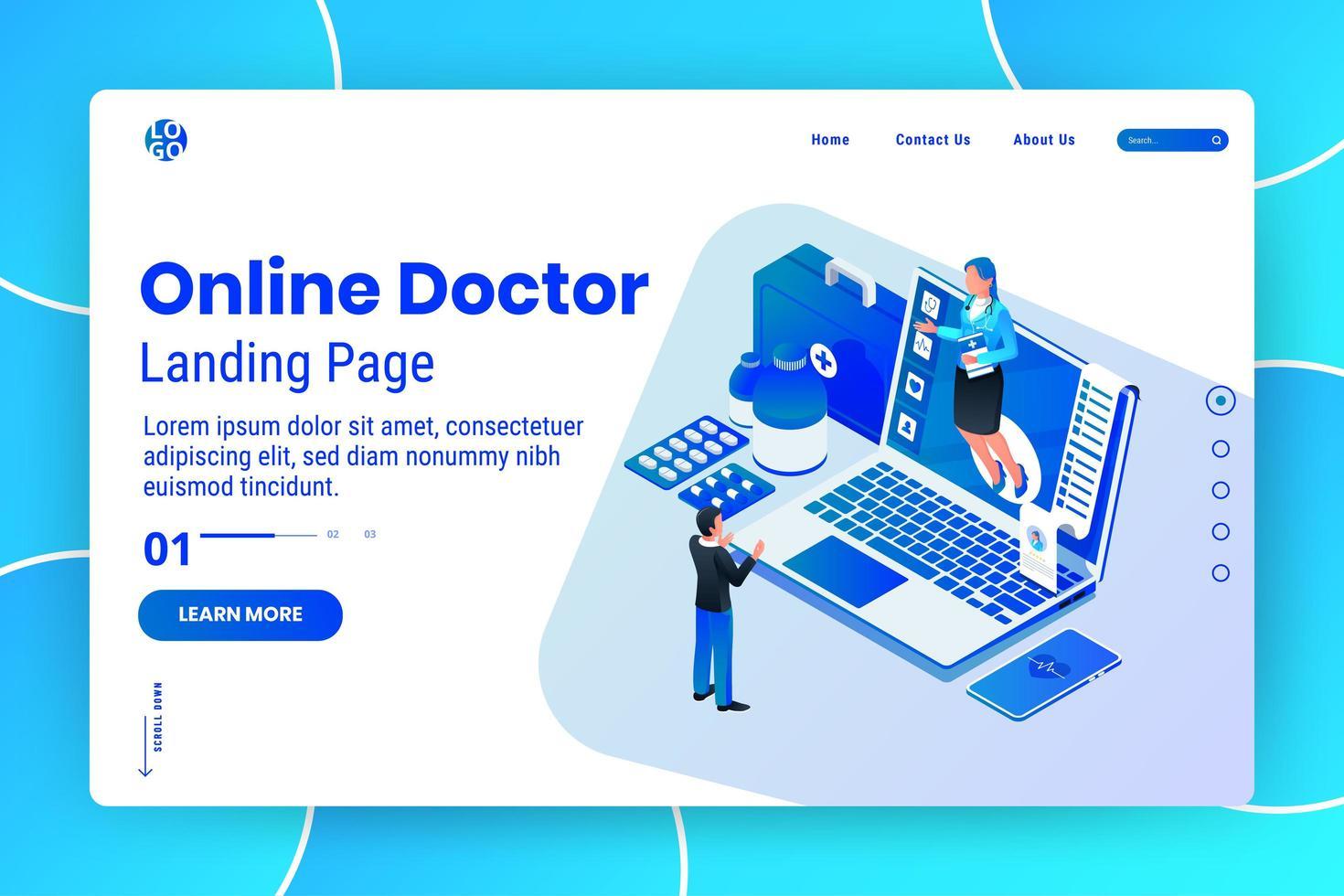 online isometrisk webbsidesmall för medicinsk konsultation vektor