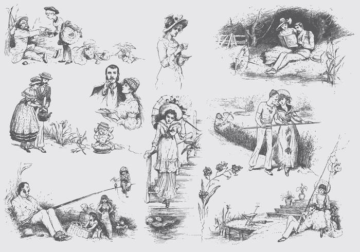 Vintage engelska illustrationer vektor
