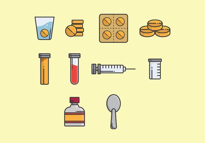 Sprudelnde Medizin Icon Set vektor