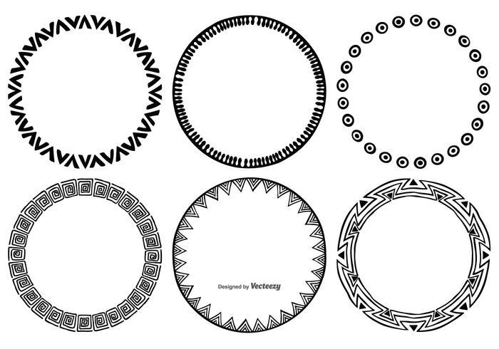 Sketchy runda ramar vektor