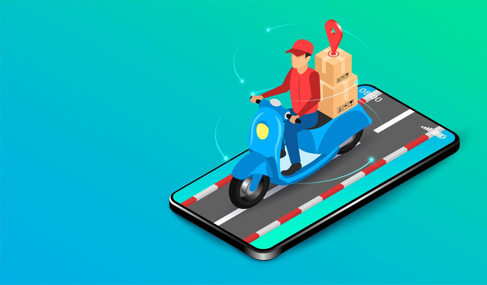 mobil app leverans man på skoter vektor