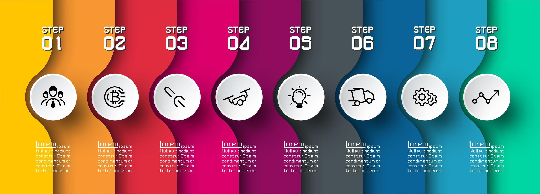 färgglada böjda lager infographic med ikoner i cirklar vektor