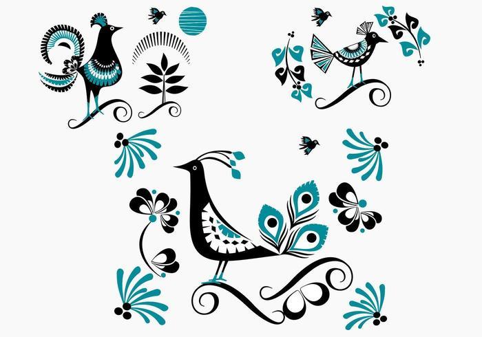 Fågelvektor Blå blommig fågelpaket vektor