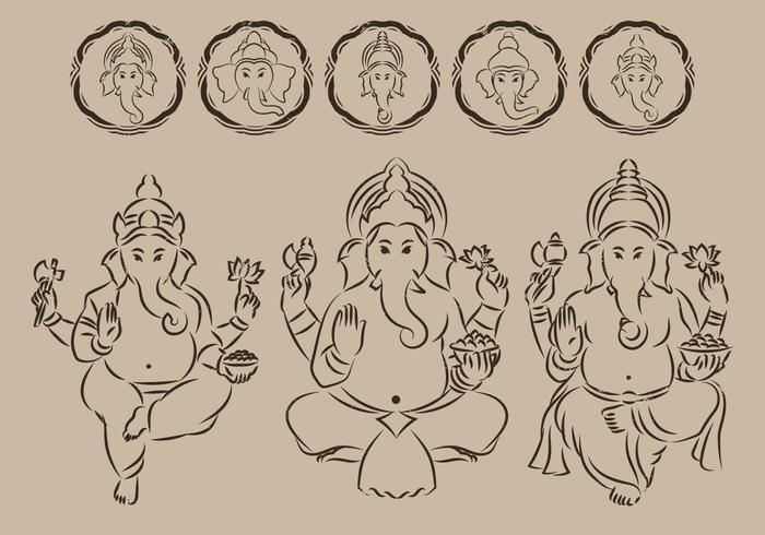 Ganesha Umriss Symbol vektor