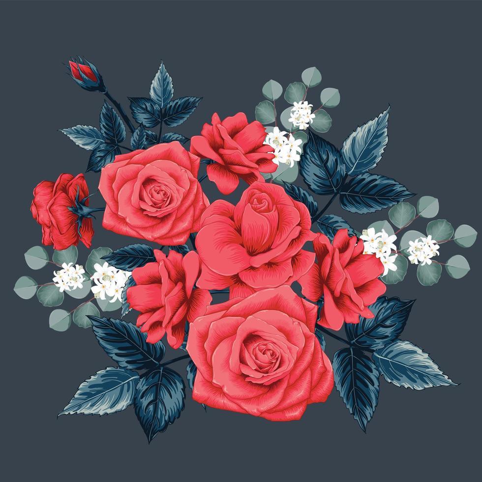blommig bukett med röd ros vektor