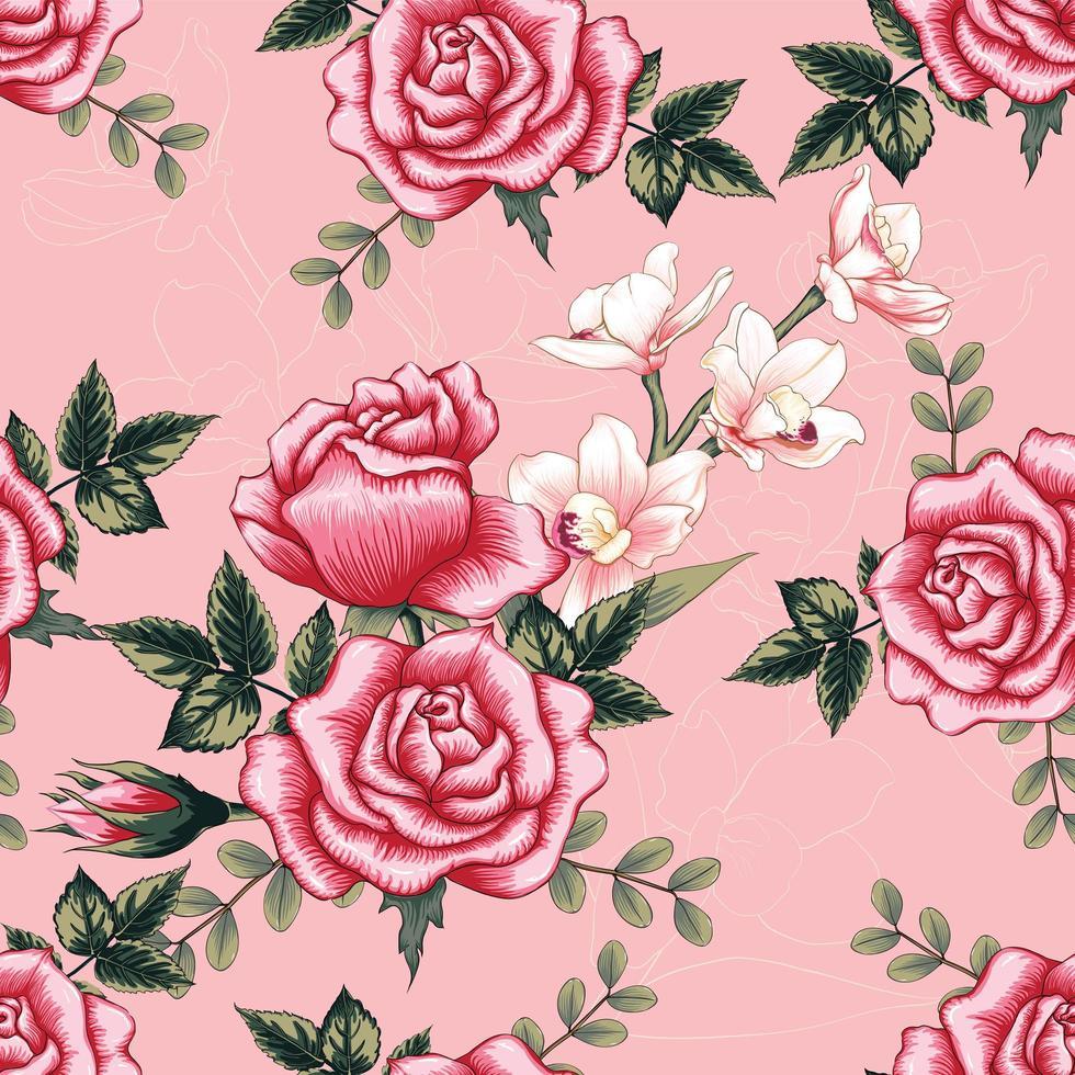 rosa orkidé röd ros blommor vektor