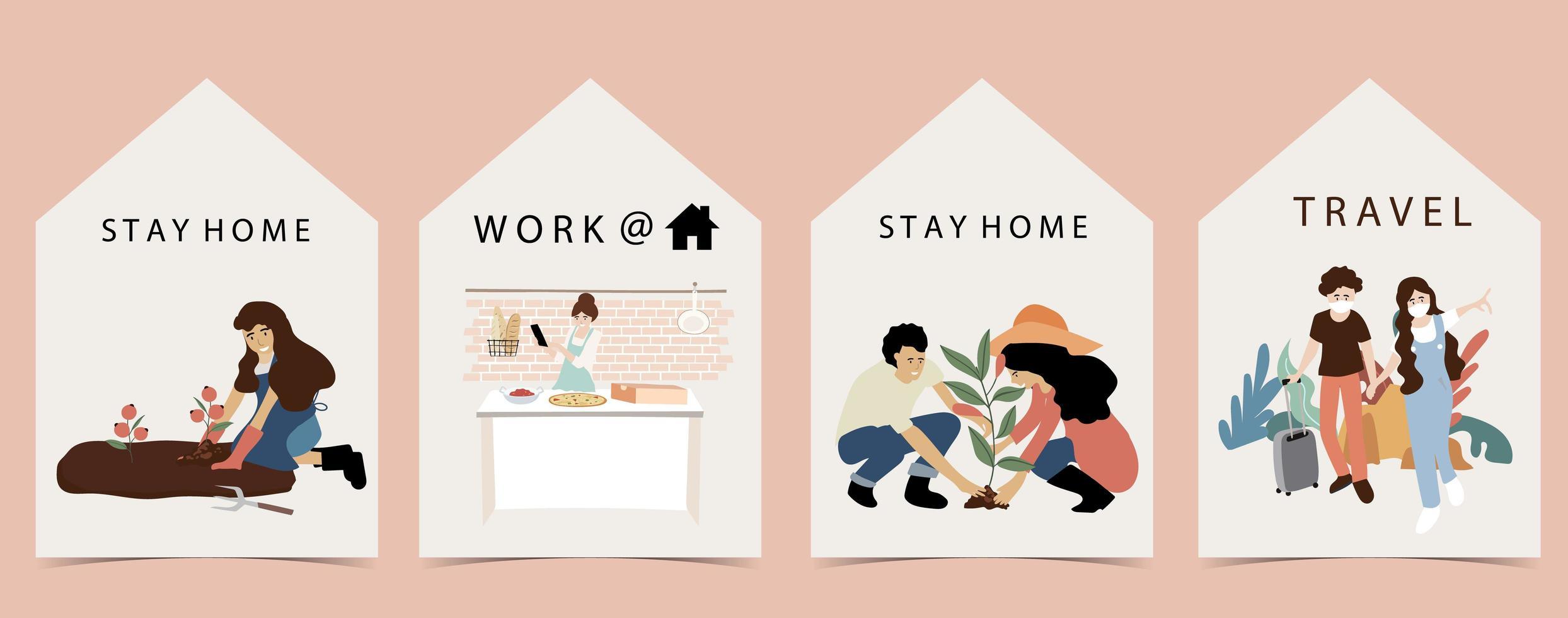 Menschen bleiben und arbeiten zu Hause Design. vektor