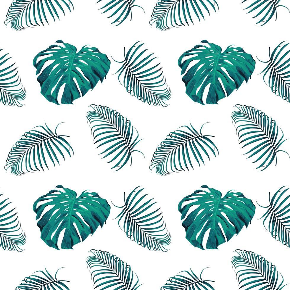 gröna monstera och palmblad vektor