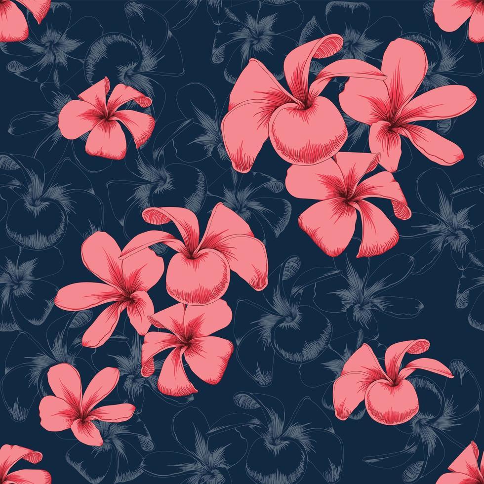 mörkblå blommabakgrund vektor