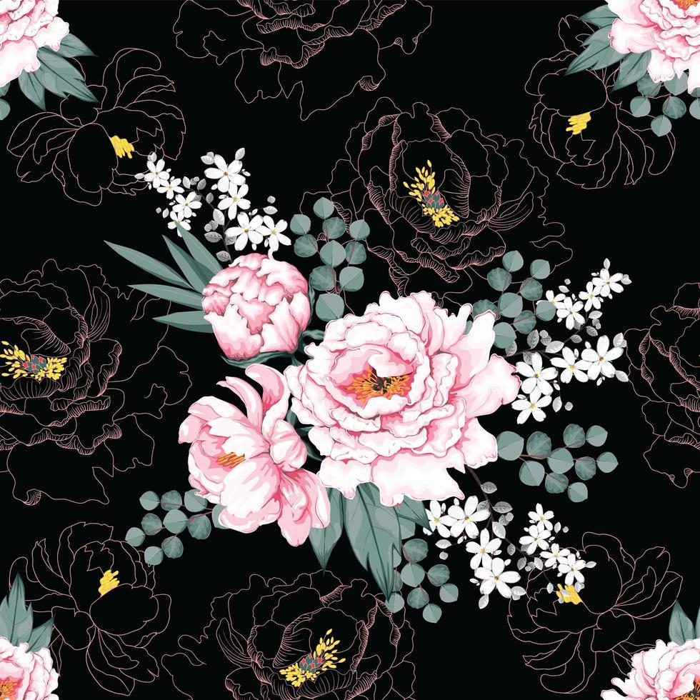 rosa pion vintage blommor vektor