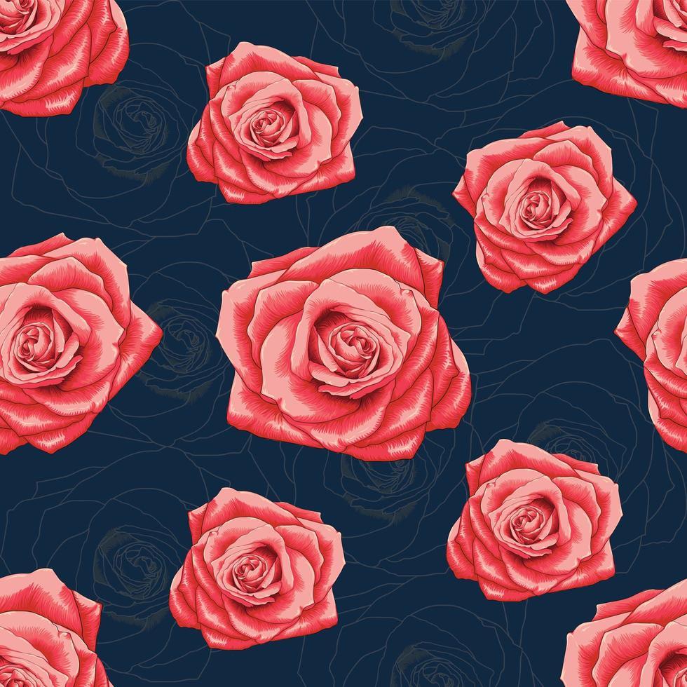sömlösa mönster vacker röd ros vektor
