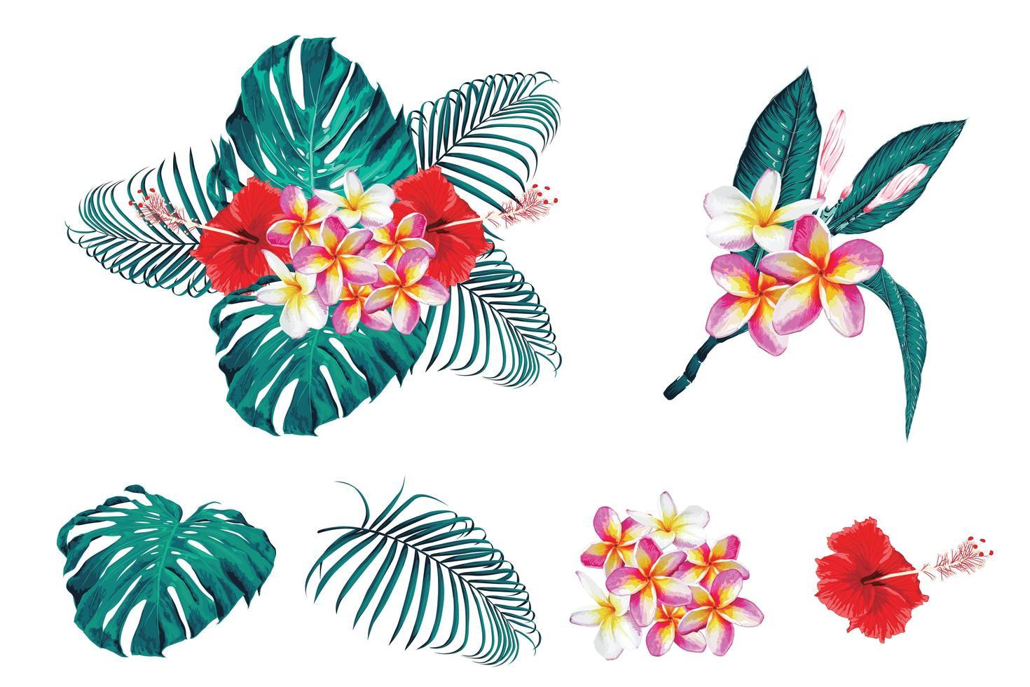 tropisches botanisches Bouquet-Set vektor