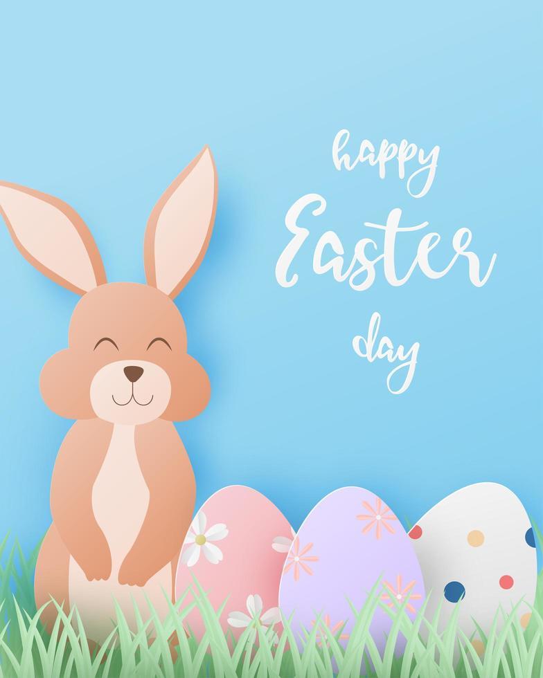 papperskonst påskdesign med kanin och ägg vektor