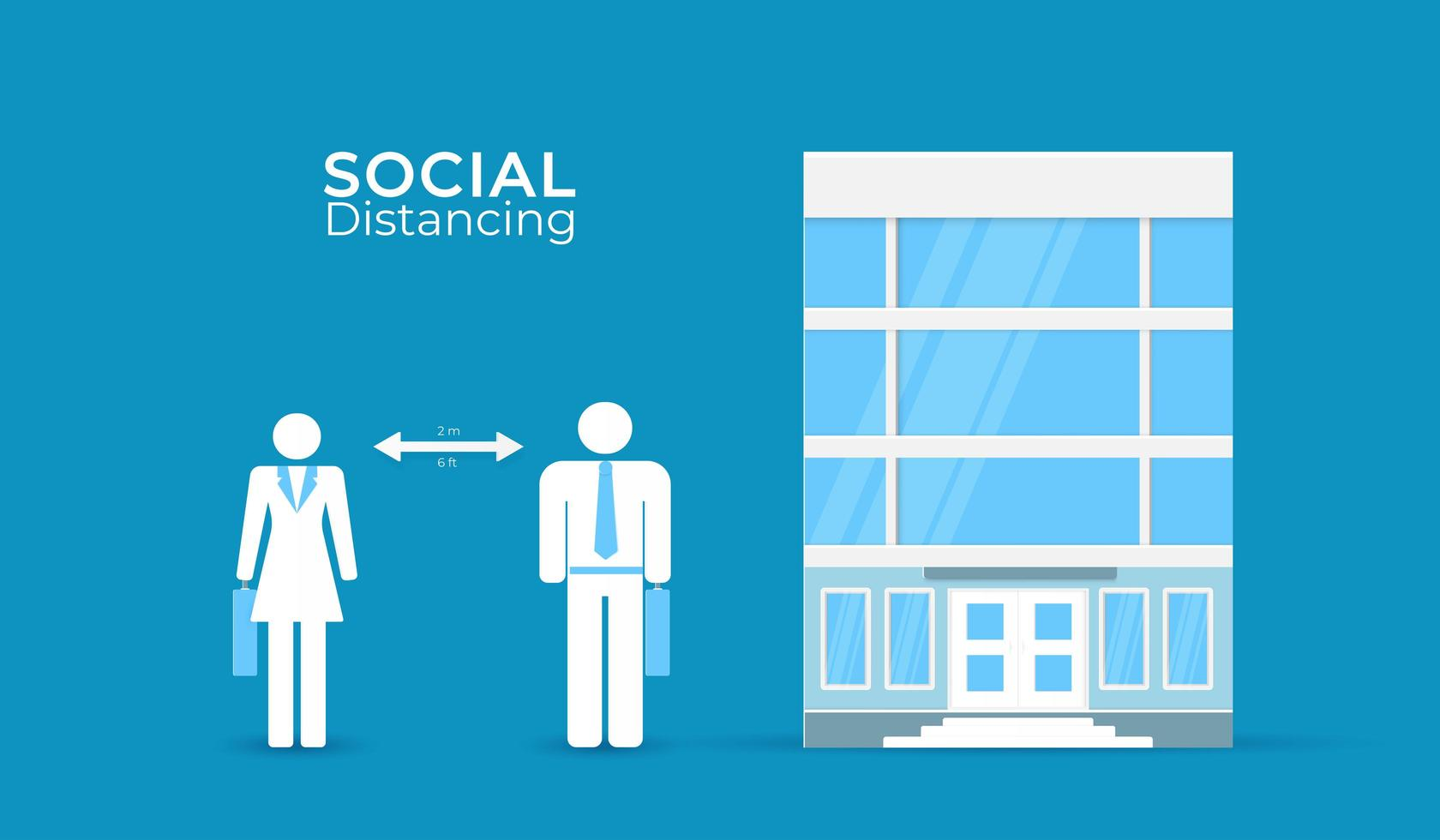 soziale Distanzierung bei Büroplakat vektor