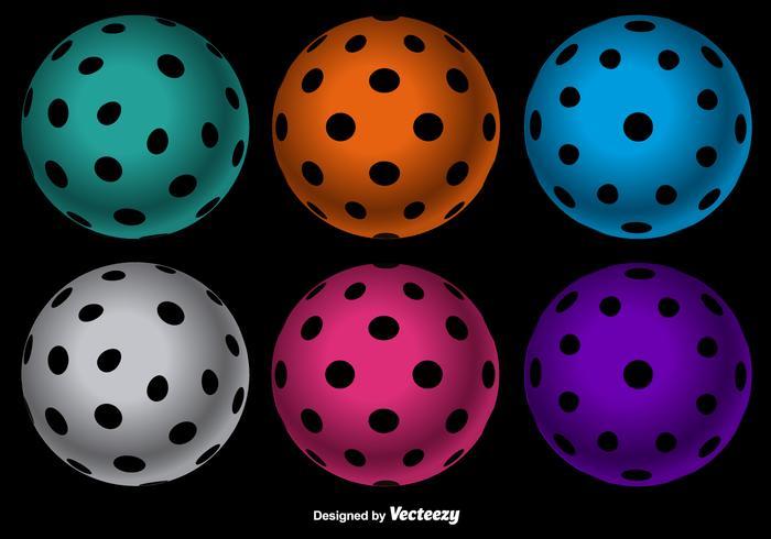 Vector bunte Floorball Kugeln gesetzt