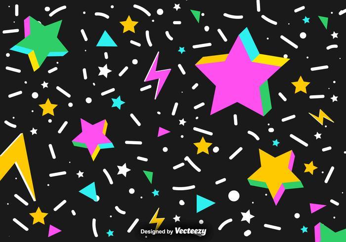 Vektor abstrakt bakgrund av färgglada 3D-stjärnor och konfetti