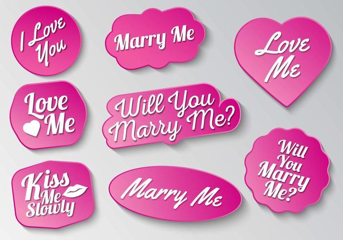 Frei heiraten mich Zeichen Typografie Vektor
