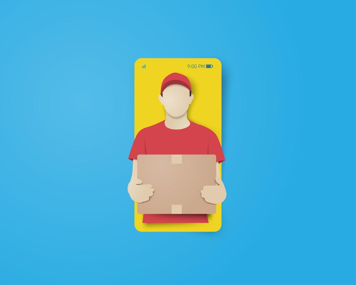 online-leverans med leveransman på smarttelefonskärmen vektor
