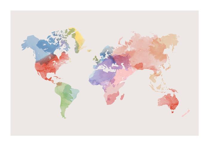 Aquarell Weltkarte Vektor