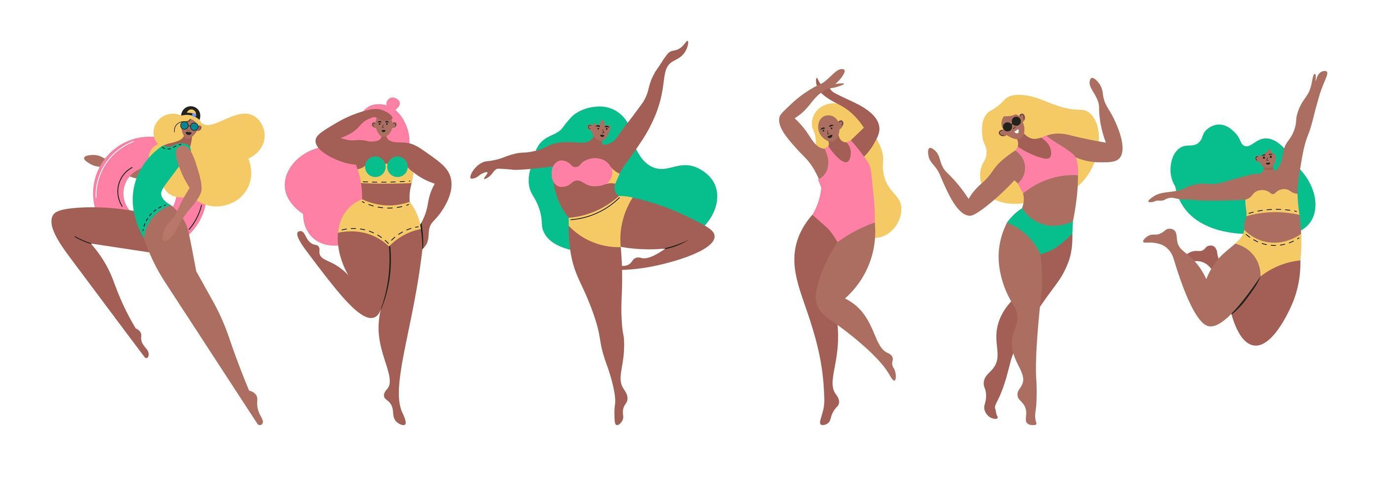 uppsättning av unga kvinnor klädda i baddräkter vektor