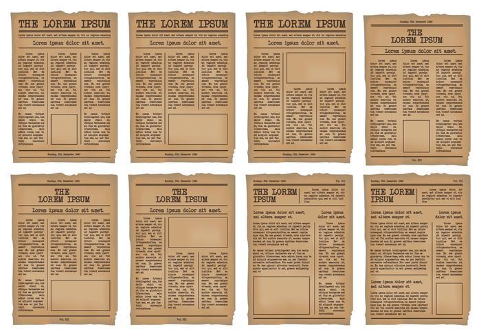 Old Newspaper Template Vector Set
