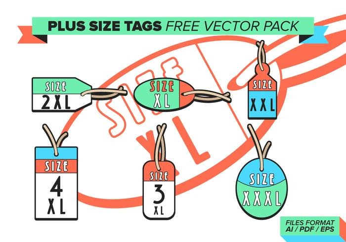 Plus Storlek Taggar Gratis Vector Pack