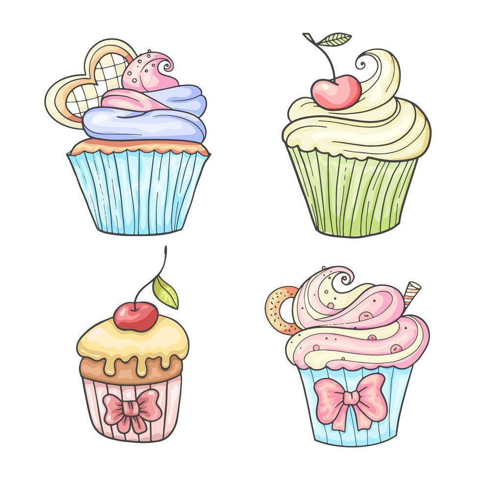 uppsättning färgglada handritade stil cupcakes vektor