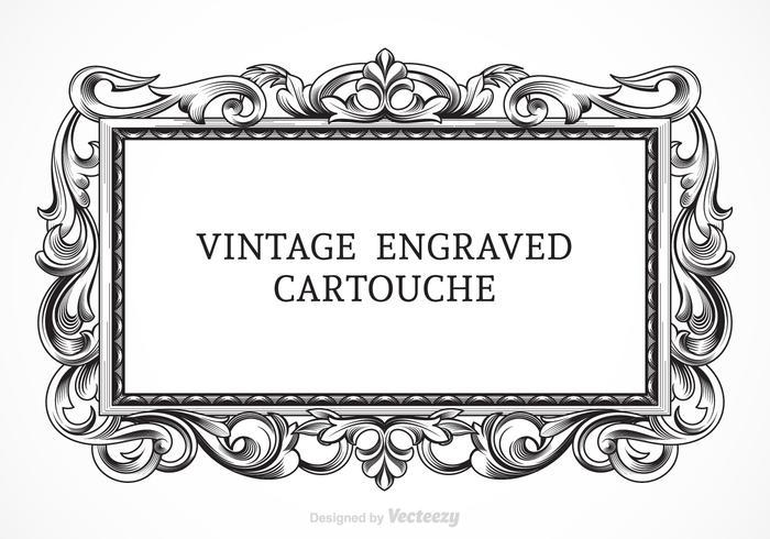 Gratis Vector Vintage Graverad Cartouche