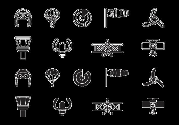 Biplane luftfahrt icons vektor