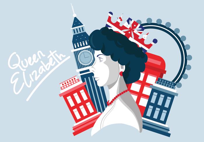 Königin Elizabeth Porträt Vektor