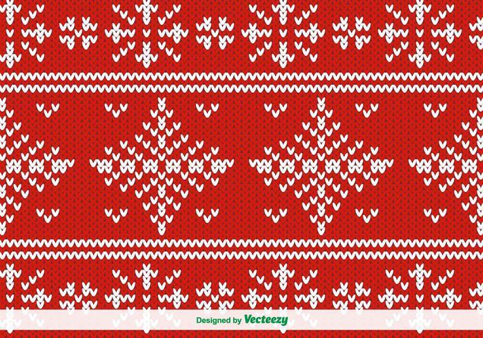 Röd stickad vektor mönster för jul