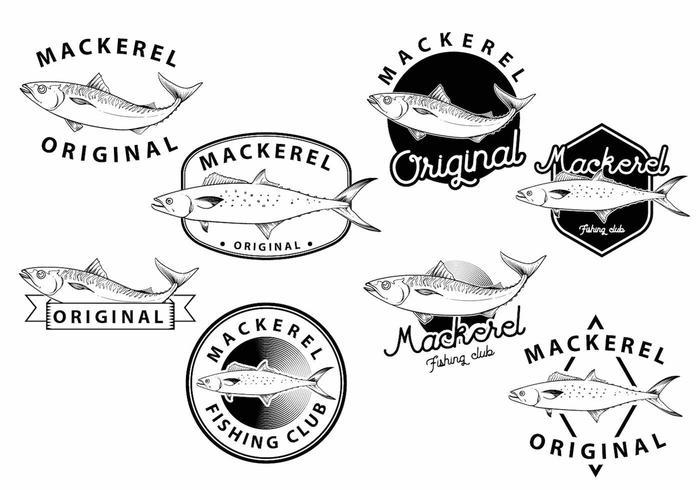 Mackerel badge set vektor