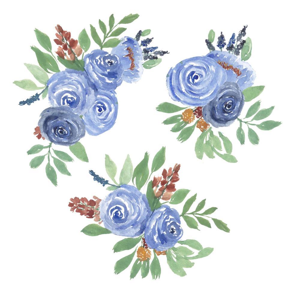 akvarell ros blommor arrangemang set vektor