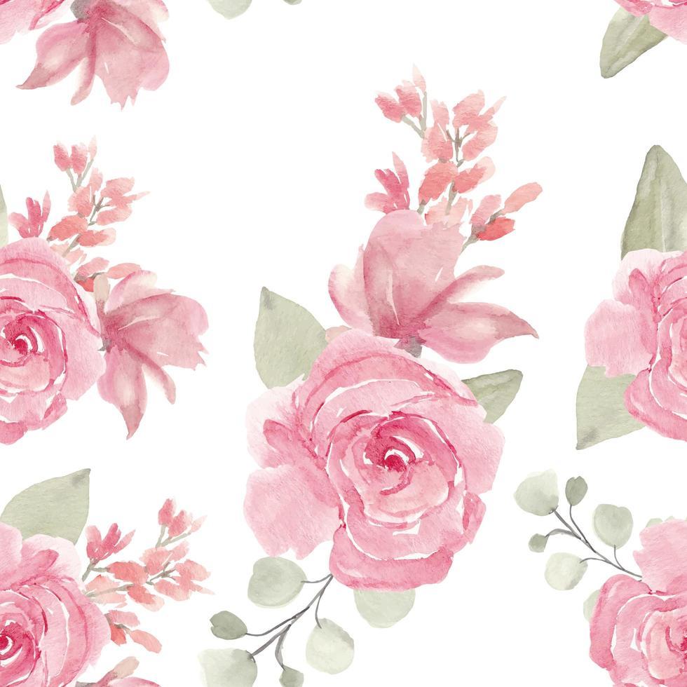 Aquarell handgemaltes rosa Rosen nahtloses Muster vektor