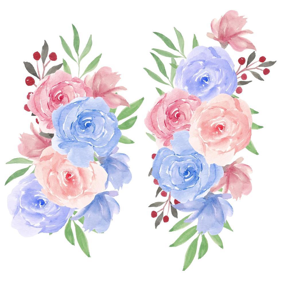 akvarell rosblomma bukett i rosa, blått vektor