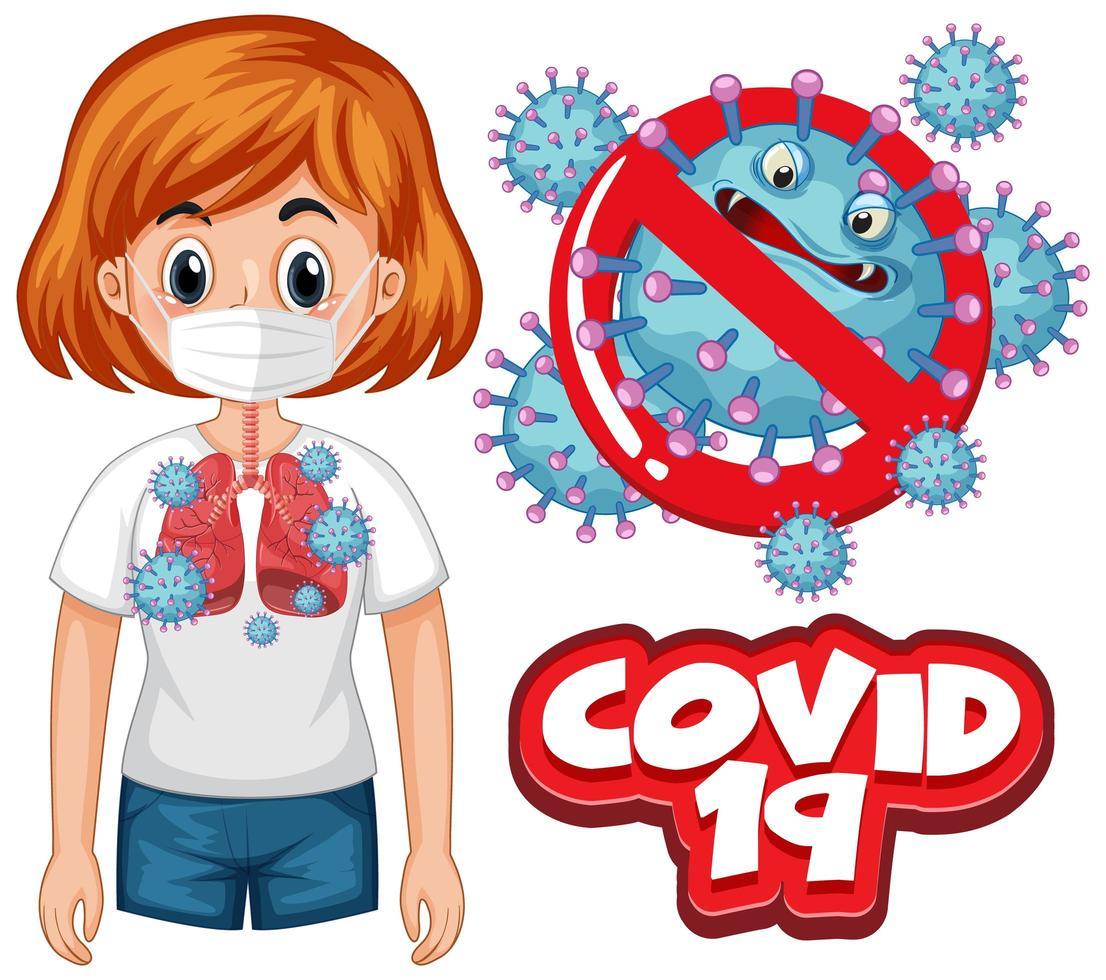 coronavirus-affischdesign med word covid 19 och dåliga lungor vektor