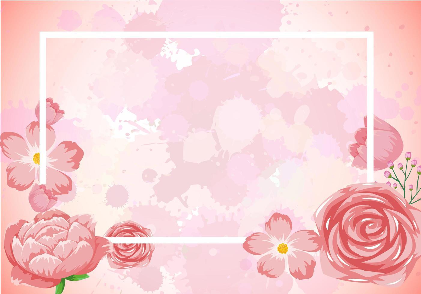 ram mall design med rosa blommor vektor