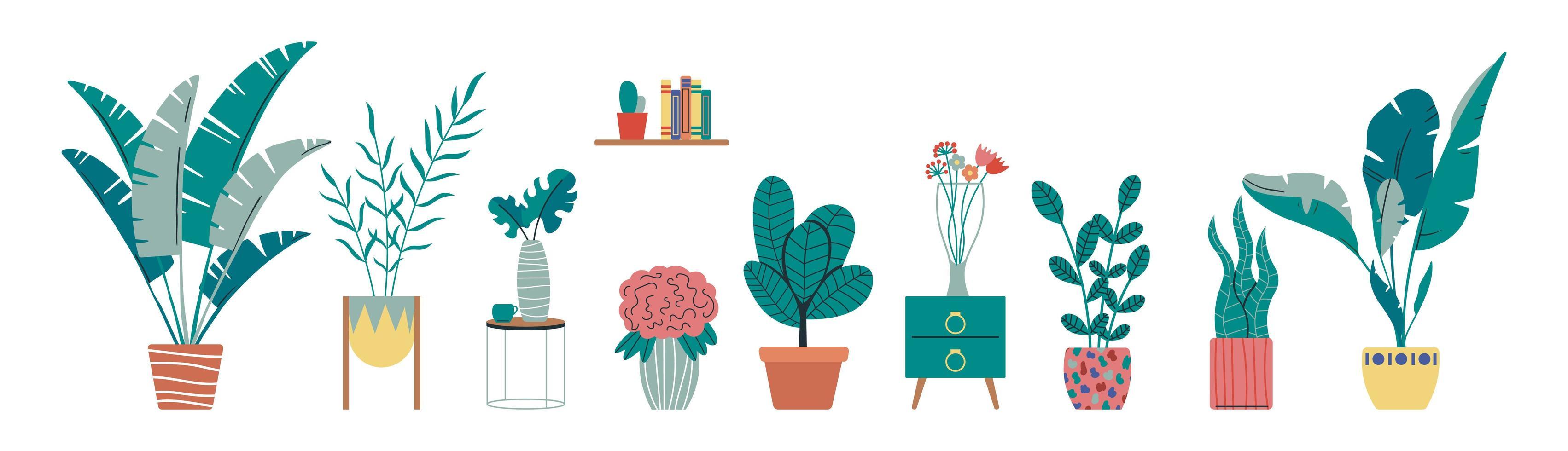 Sammlung von tropischen Zimmerpflanzen vektor