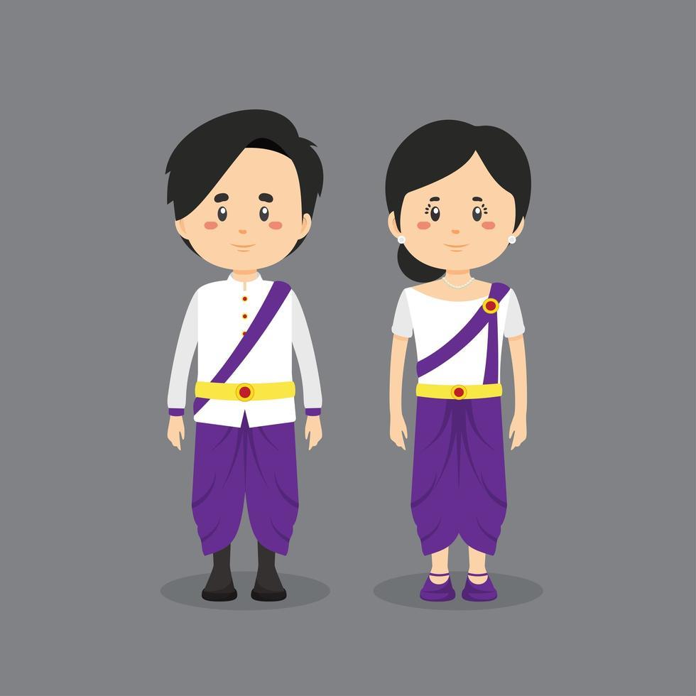 Kambodscha-Charaktere in traditioneller Kleidung vektor