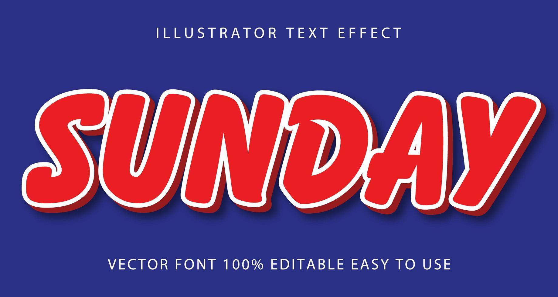 röd, vit linje söndag texteffekt vektor