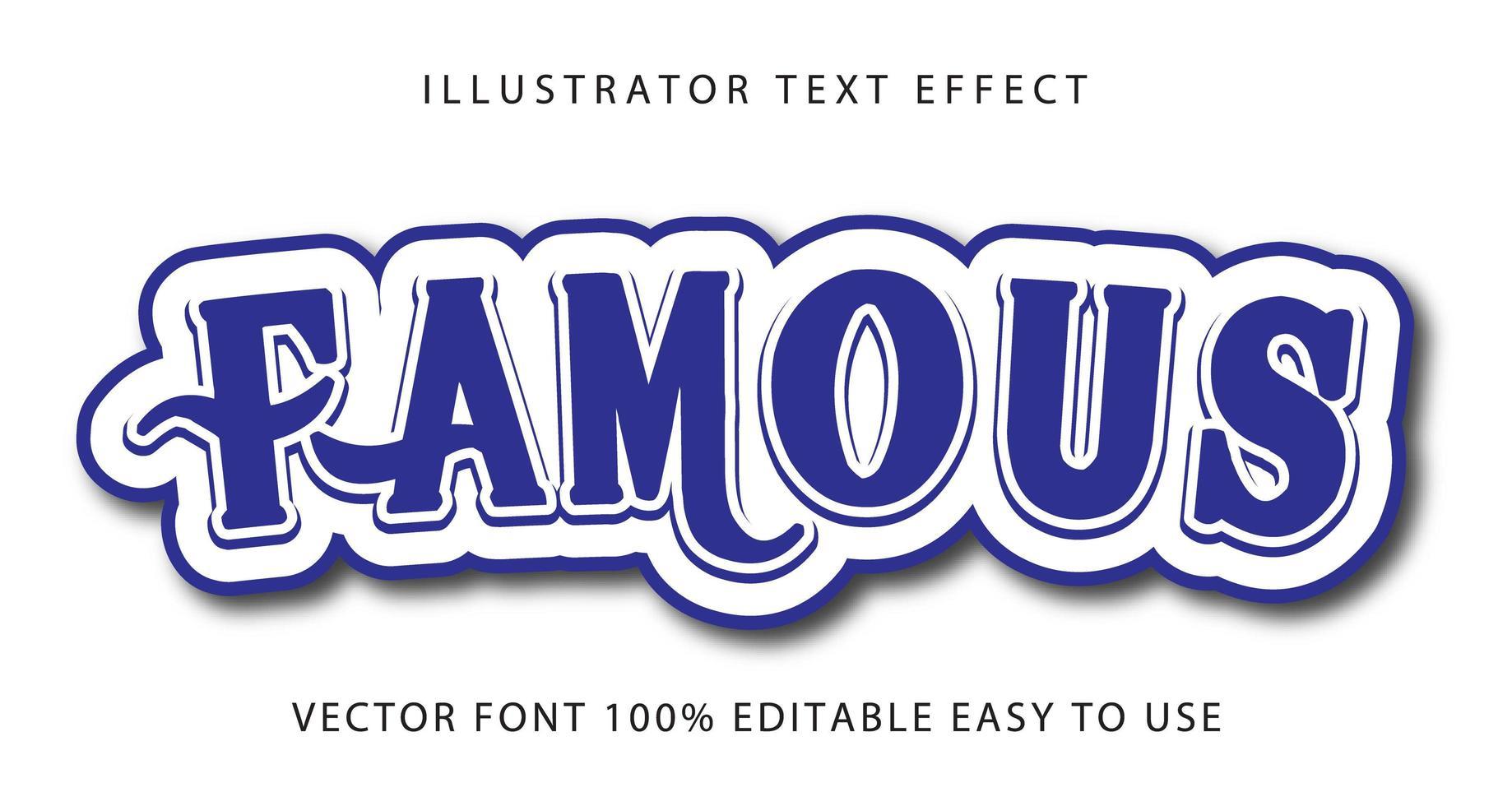 berömda blå virvel text effekt vektor