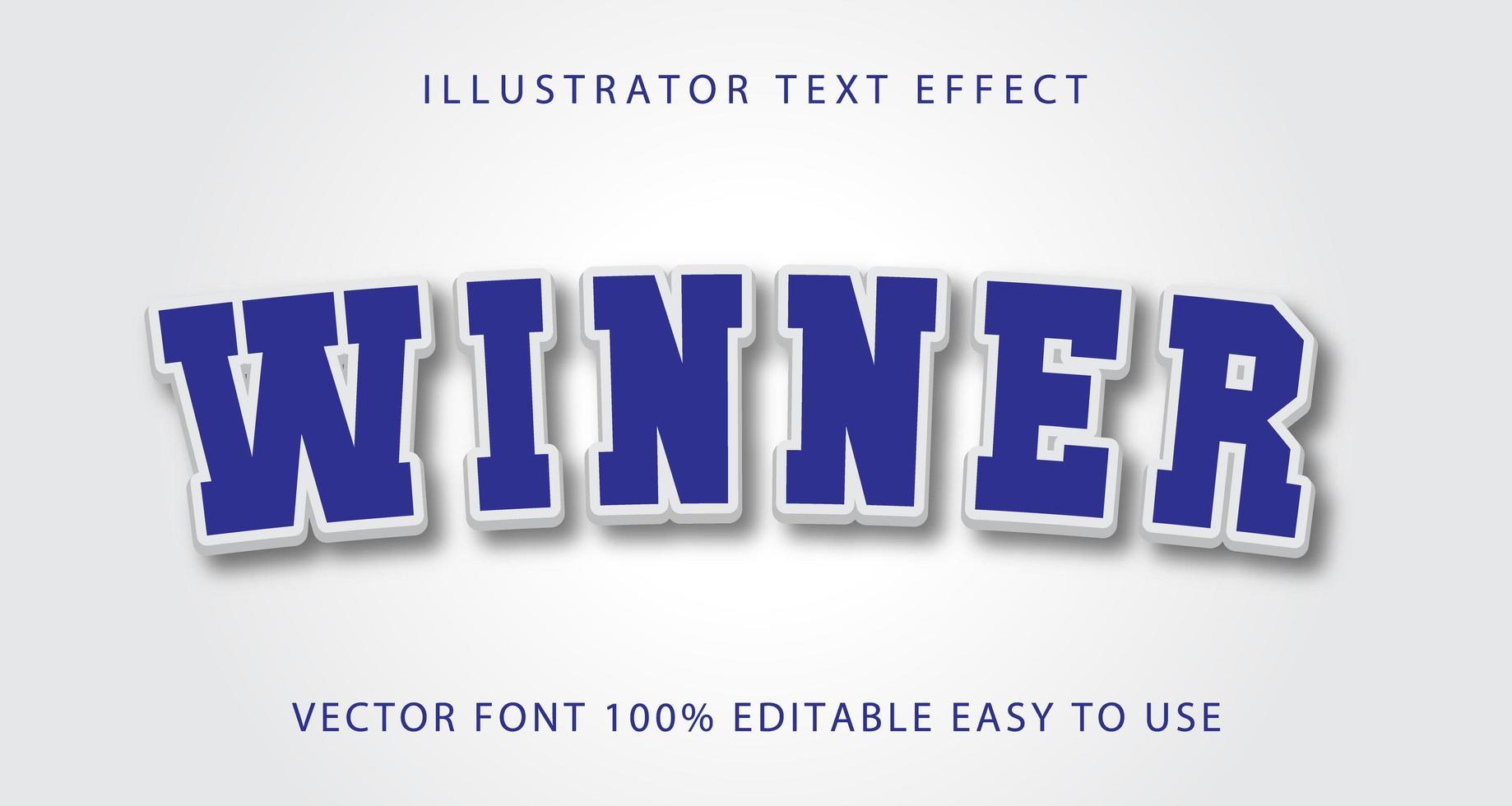 vinnare blå, vit text effekt vektor