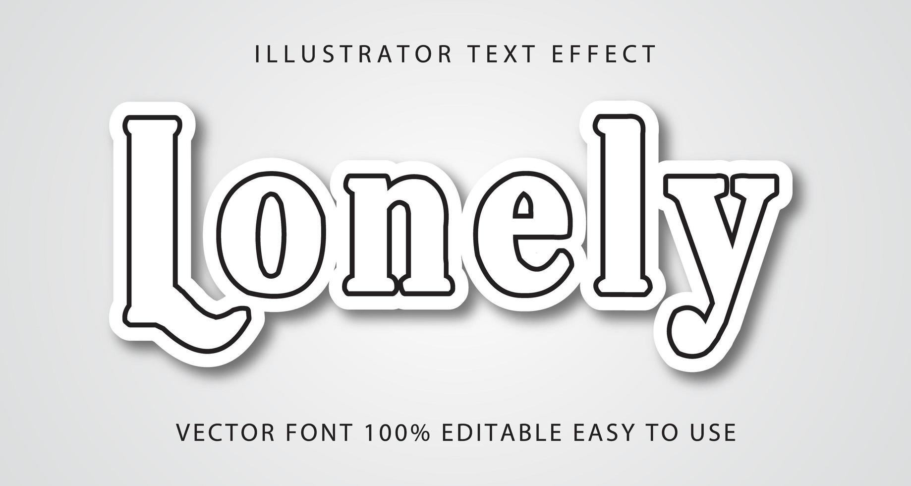 ensam vit, svart linje texteffekt vektor